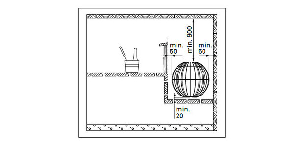 Poele Globe Harvia pour sauna vapeur - schema distances de securité