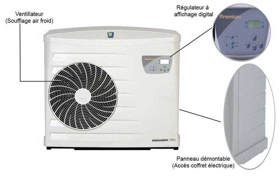 Description de la pompe à chaleur Powerfirst Premium by Zodiac en situation