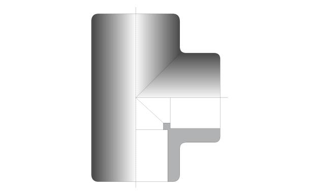 raccord PVC té - schema