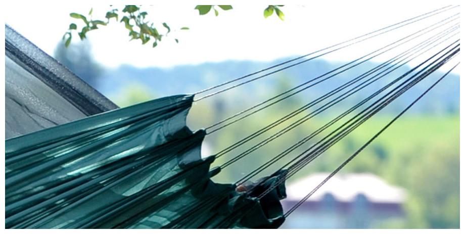 Détail des cordes du hamac Moskito Traveller en situation
