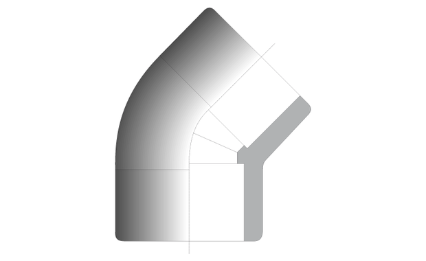 coude 45° en PVC - schema