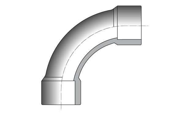 PVC pression hydraulique - raccord courbe 90 schema