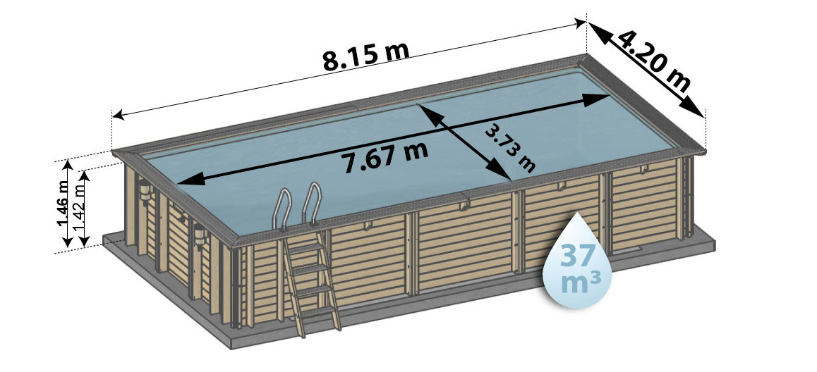 dimensions de la piscine bois woodfirst Original 815 x 420 x 176