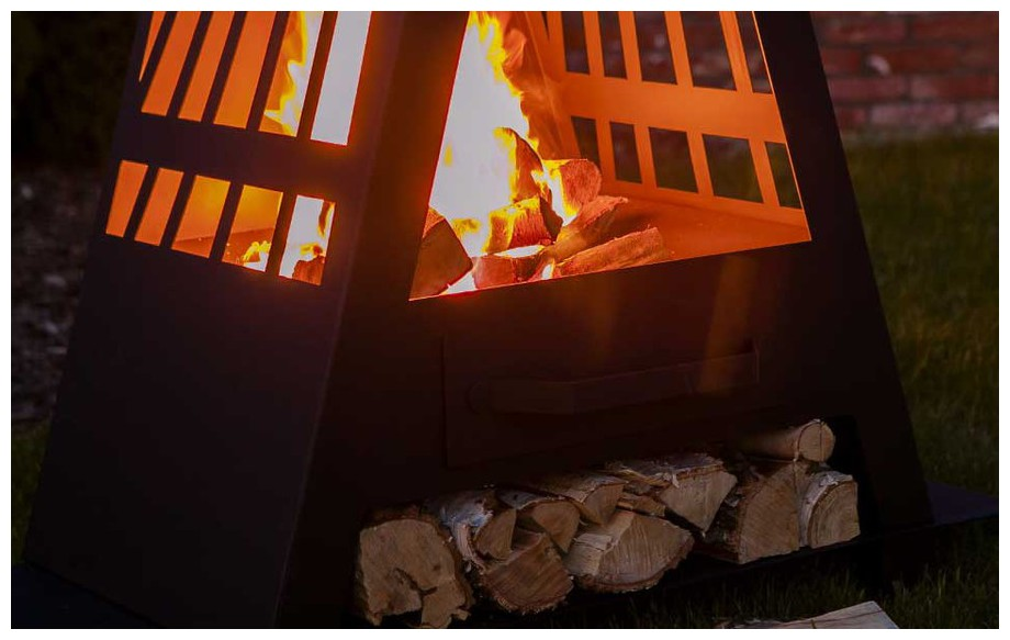 cheminée brasero d'extérieur à bois Cheyenne en situation