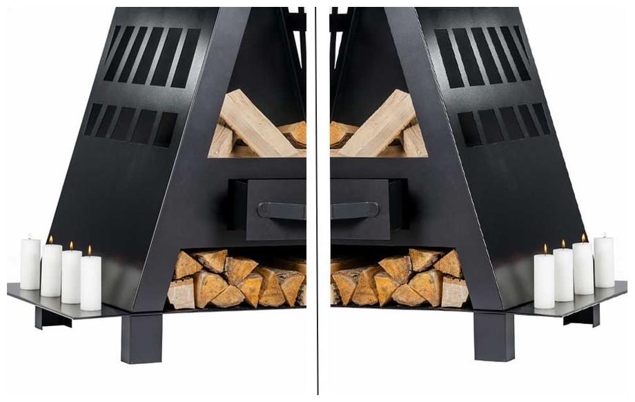 tiroir amovible récupérateur de cendres de la cheminée brasero d'extérieur Cheyenne en situation