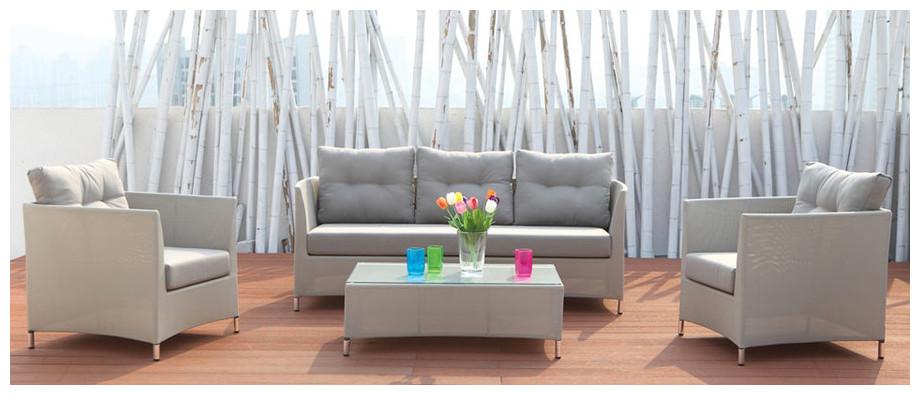Salon de jardin bas d'extérieur en aluminium et textilène Naples gris