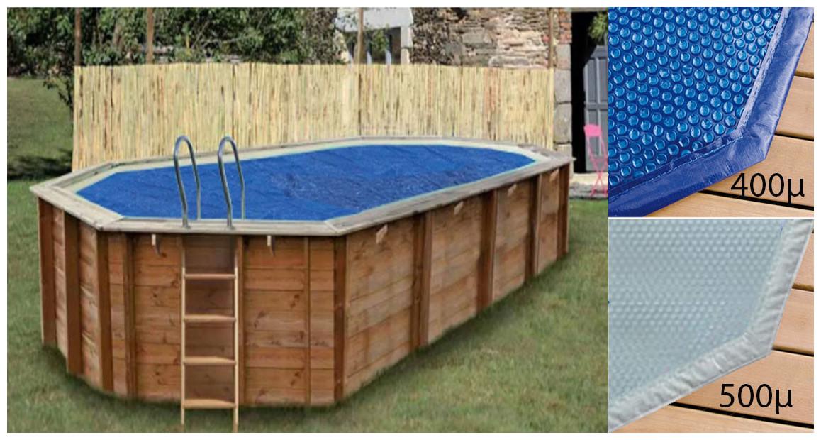 bâche été pour piscine bois octogonale allongée woodfirst original