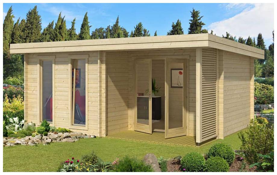 abri de jardin en bois contemporain Orkney Lasita Maja en situation