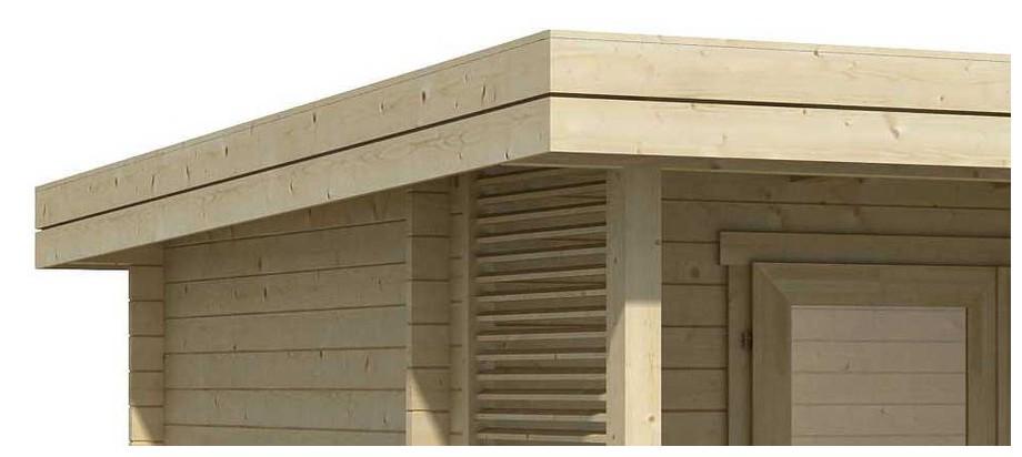 Détail de la toiture de l abri de jardin contemporain en bois Orkney  Lasita Maja en situation