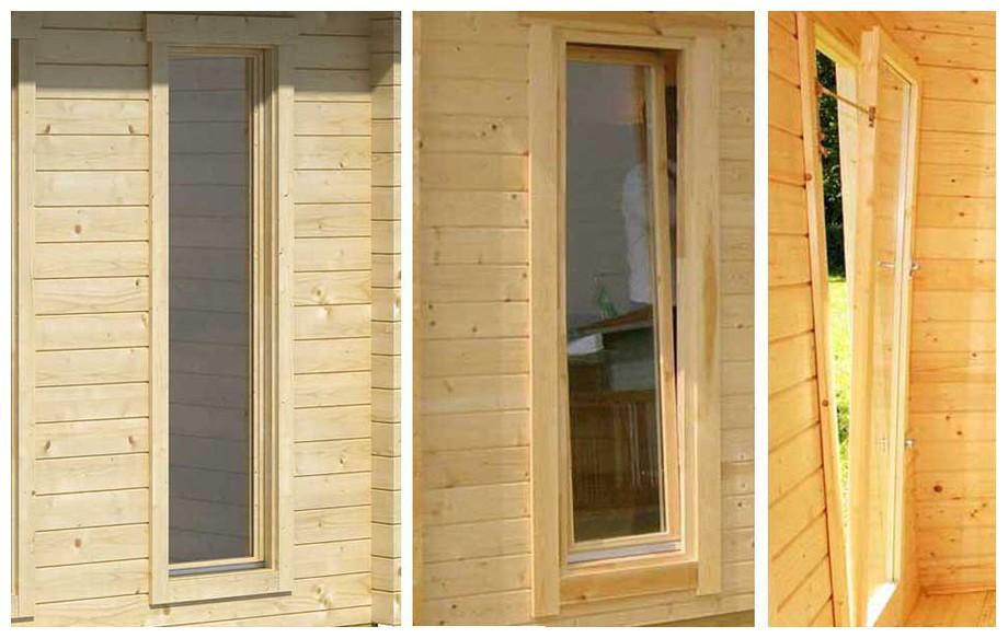 détail de la porte de l'abri de jardin contemporain en bois orkney Lasitamaya en situation