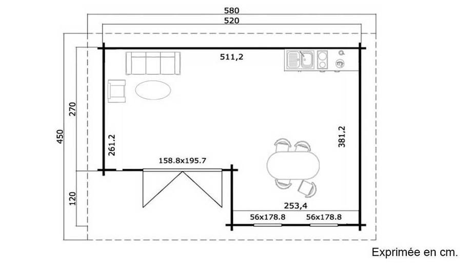 plan de l'abri de jardin contemporain en bois Orkney Lasita Maja en situation