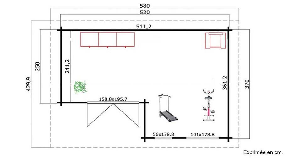 plan de l'abri de jardin en bois Brighton A Lasita Maja en situation
