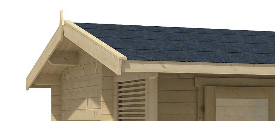 Détail de la toiture de l abri de jardin en bois Brighton Lasita Maja en situation
