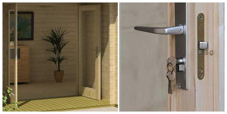 détail de la porte de l'abri de jardin en bois Brighton A Lasitamaya en situation