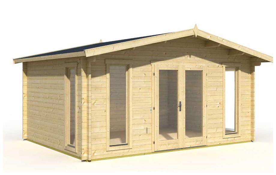 Détail des matériaux de l'abri de jardin en bois Elgin 44 Lasita Maja en situation