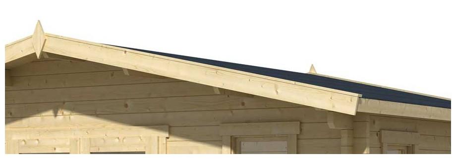 Détail de la toiture de l abri de jardin en bois Elgin 44 Lasita Maja en situation