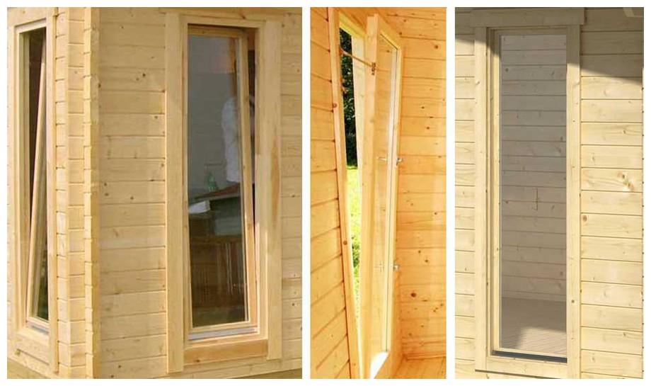 détail de la fenêtre de l'abri de jardin Elgin 44 Lasita Maja en situation