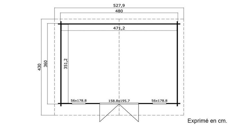 plan de l'abri de jardin en bois Elgin 44 Lasita Maja en situation