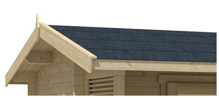 Détail de la toiture de l abri de jardin en bois Brighton B Lasita Maja en situation