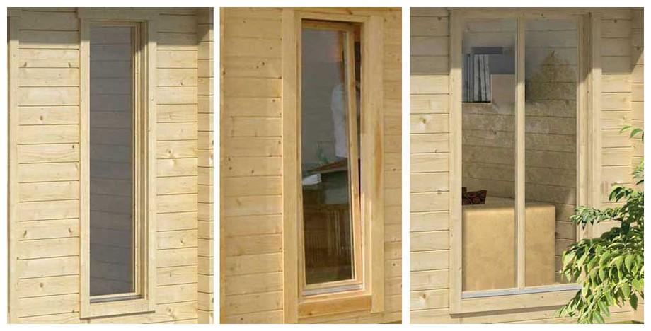 détail de la fenêtre de l'abri de jardin en bois Brighton B en situation