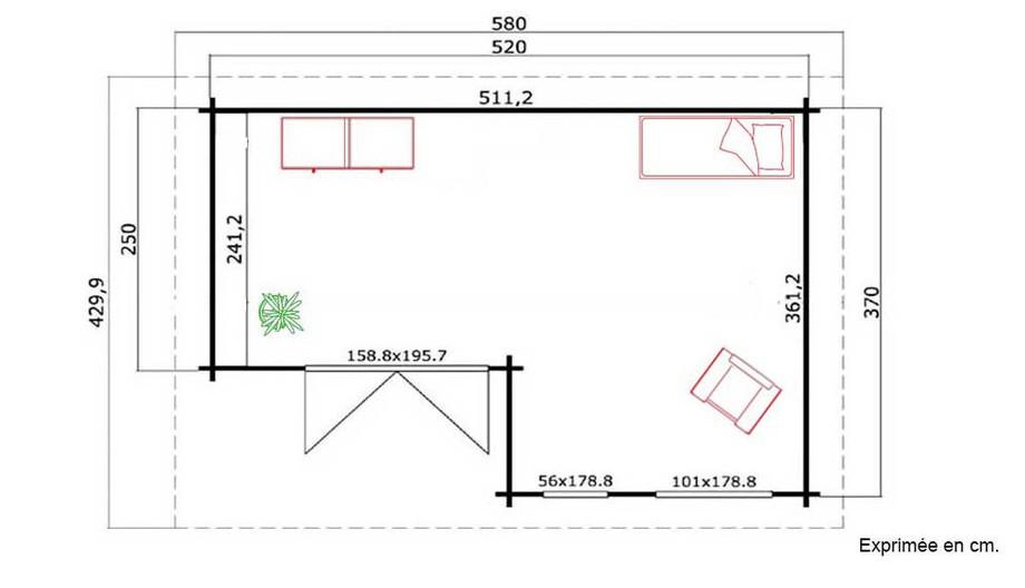 plan de l'abri de jardin en bois Brighton B Lasita Maja en situation