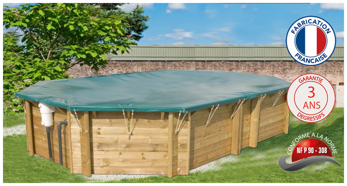 bâches opaques pour piscines bois octogonale allongée woodfirst original