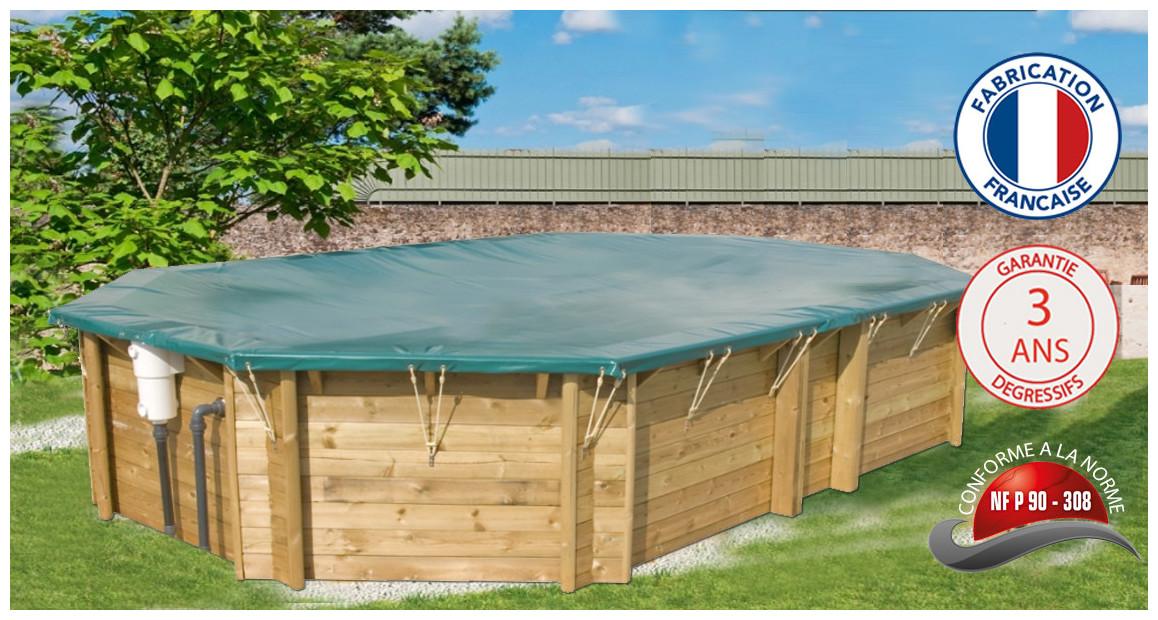 bâches opaques pour piscines bois octogonales allongées woodfirst original