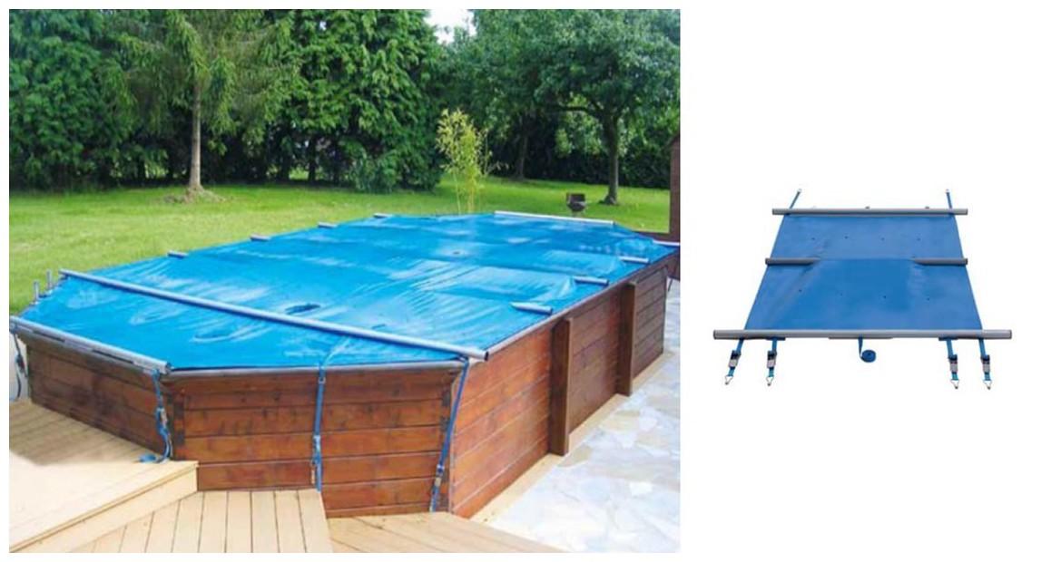 bâche à barres octogonale allongée pour piscine bois woodfirst original