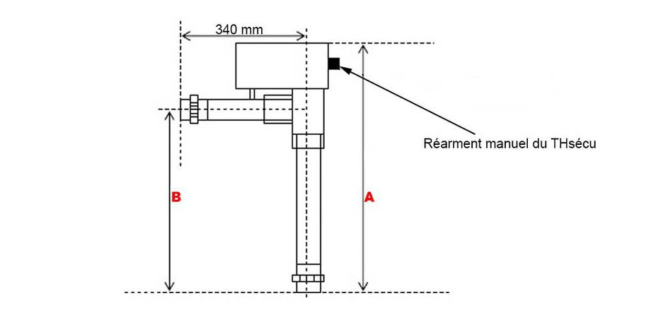 Dimensions du réchauffeur Titane de piscine Bleu Titane RTI C