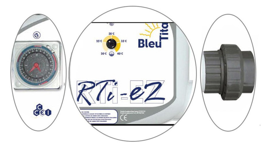 réchauffeur piscine bleu titane RTI EZ descriptif