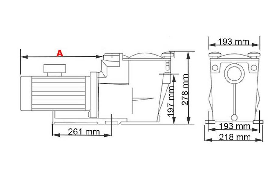 dimensions de la pompe centrifuge de piscine Superpump by Hayward