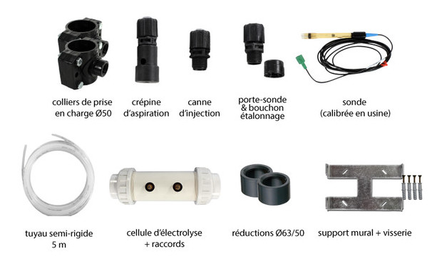 Perle - boitier duo electrolyse et regulation pH - accessoires inclus