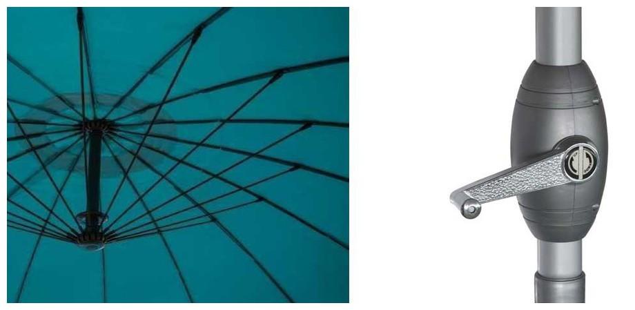 baleine en fibre de verre et manivelle  du parasol à mât droit 270 cm de diamètre Liam en situation