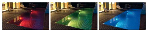projecteur led piscine bois - ambiance couleur
