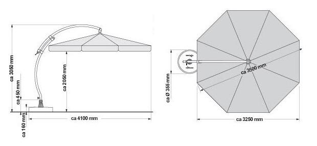 dimensions du parasol Easy Sun