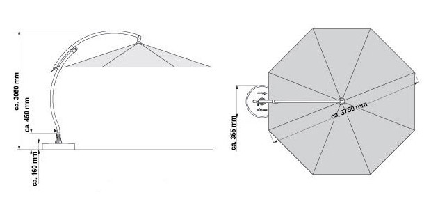 Dimensions parasol Easy sun 375