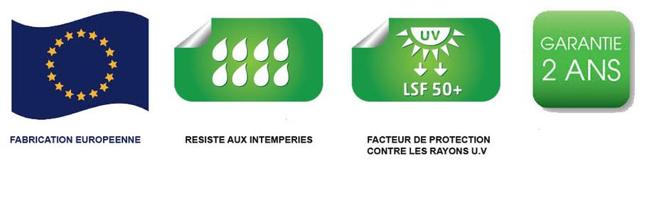 logos qualité du parasol déporté XL 375 en polyester taupe