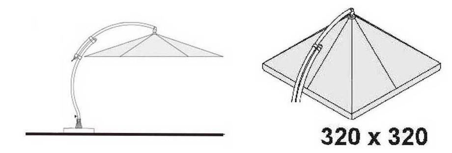dimension du parasol déporté en toile Easy Sun carré en situation