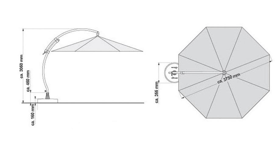 Croquis des dimensions du parasol déporté XL375 en Oléfin terracotta