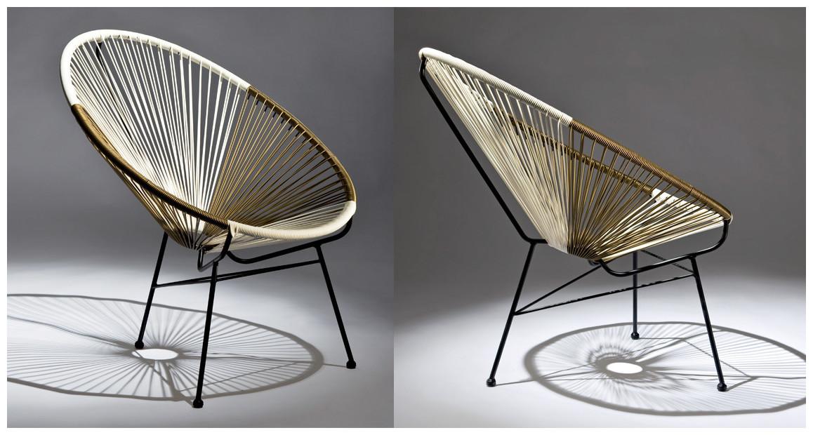 fauteuil d'extérieur en fil résine ovaly en situation
