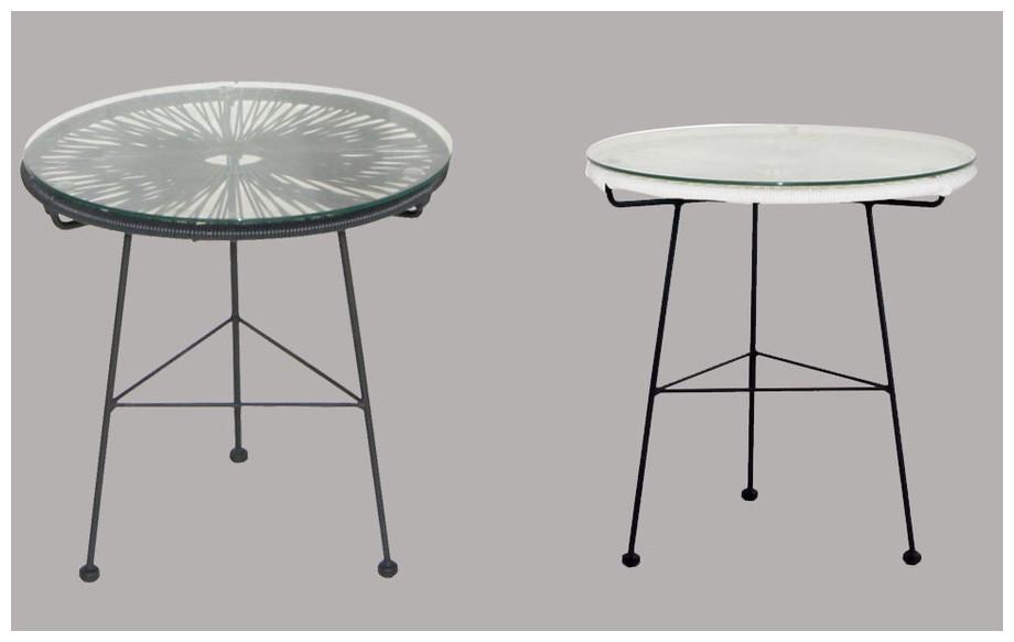 Détail de la table de jardin d'extérieur en résine tendue et acier noir Ovaly