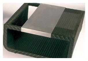 Table en résine tressée chocolat plateau en aluminium Summertime