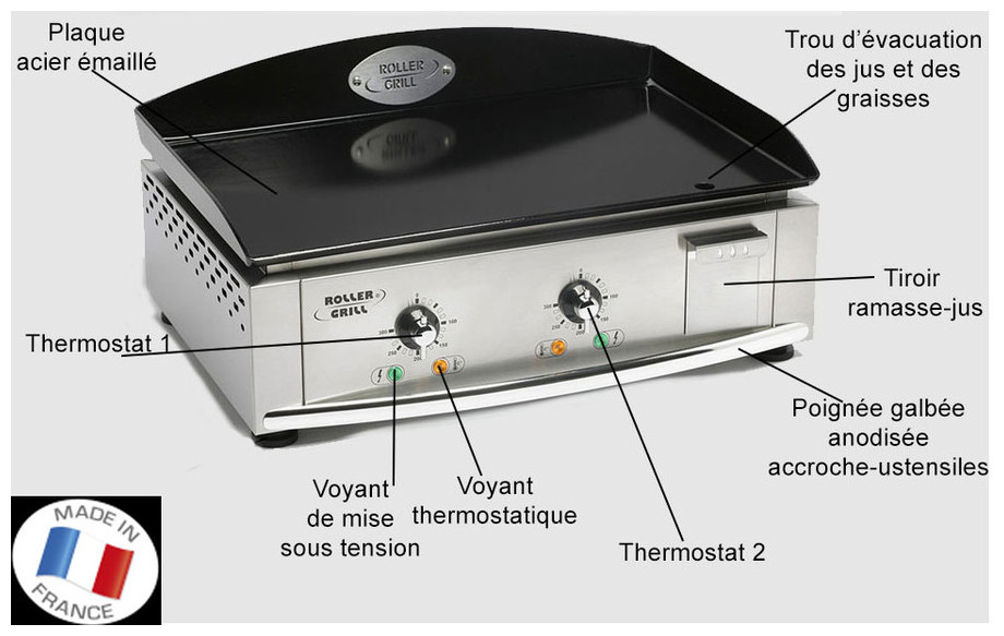 Fiche technique de la plancha électrique PL 600E en situation