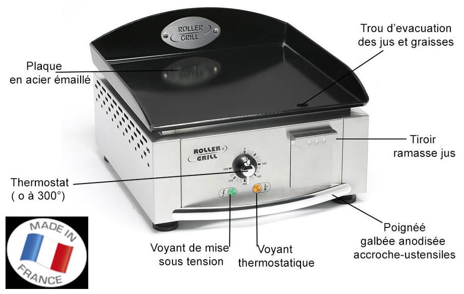 Fiche technique de la plancha électrique Roller Grill PL 400E en situation
