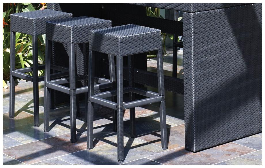Mange debout 6 places en r sine et composite jardin - Table haute en resine tressee ...
