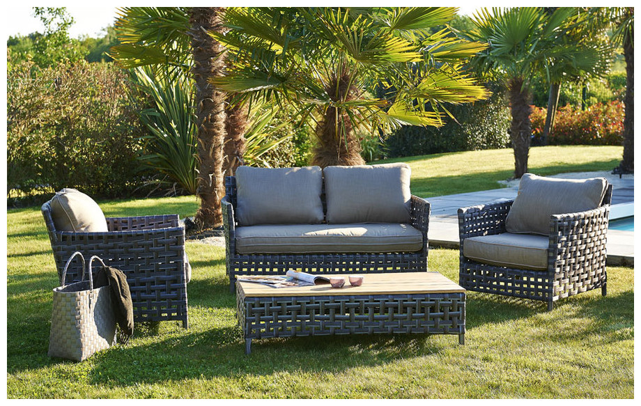 salon de jardin en r sine tress e plate salon 4 places. Black Bedroom Furniture Sets. Home Design Ideas