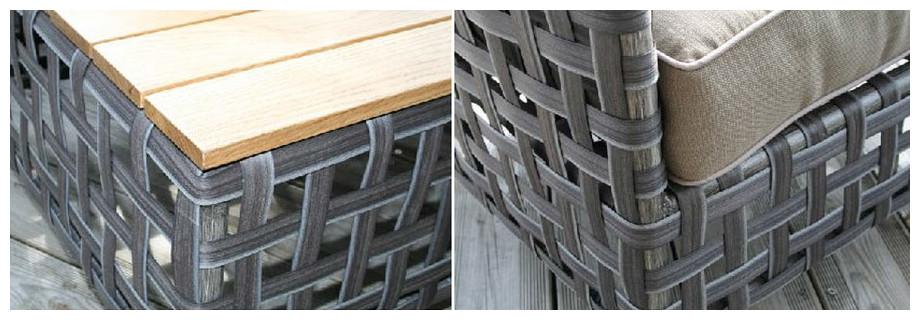 Résine plate tressé larges bandes grises du salon de jardin bas d'extérieur Apt