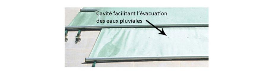 Bâche 4 saisons Ø412 - Cavités d'évacuation centrales pour les eaux de pluie