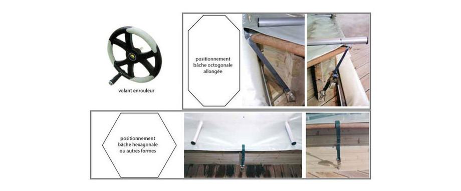 Bâche à barres Ø412 hexagonale pour piscine bois Woodfirst Original