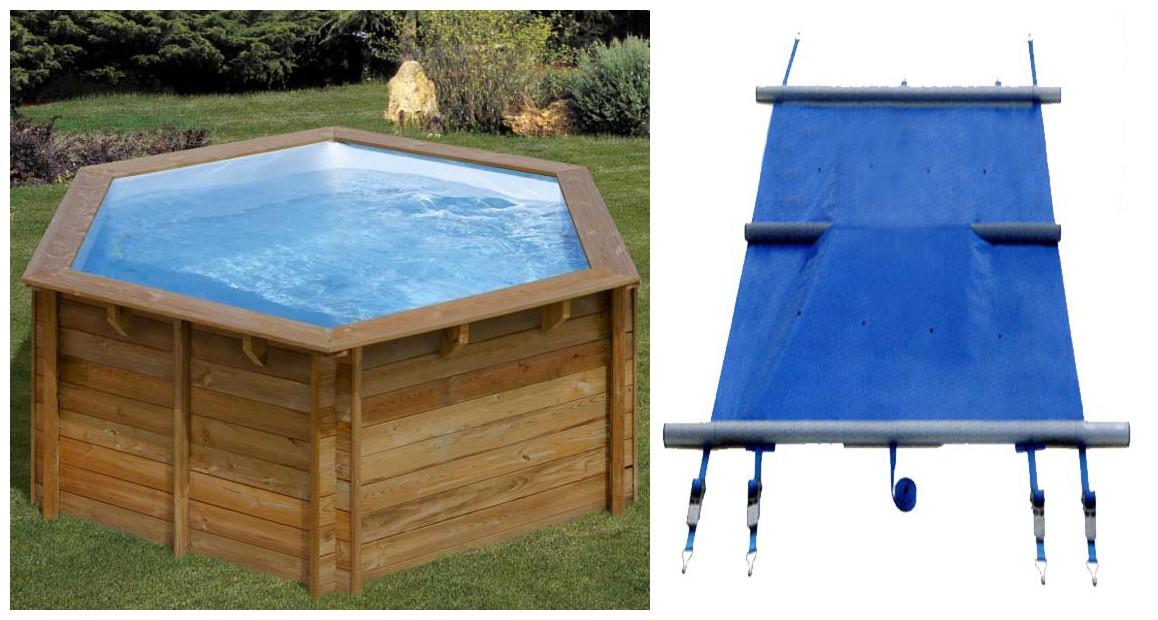 bâche à barres pour piscine bois hexagonale woodfirst original